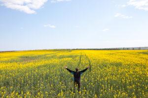 a happy man in the field