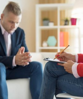 Man at consultation with psychiatrist